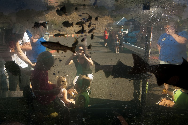 Children pose for a picture in front of a mobile aquarium during the 2009 Salmon Festival at the Feather River Fish Hatchery in Oroville, Calif., September 2009. (Nathan Weyland)