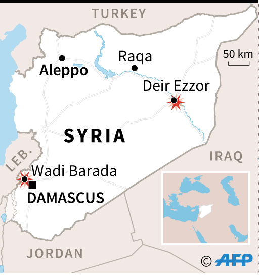 Map of Syria locating clashes between the regime and rebels in Wadi Barada and Islamic State group advances around Deir Ezzor. (AFP)
