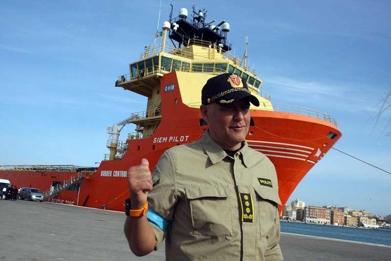 Pål Erik Teigen, force commander of the Norwegian supply ship Siem Pilot, at port in Trapani, Sicily. (Francesco Paolo Lannino)