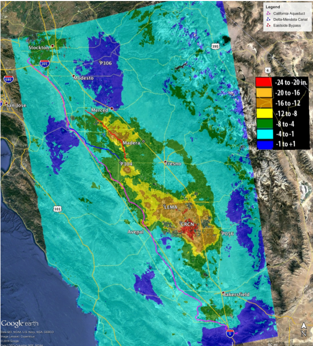 Map shows groundwater subsidence in California measured by satellite from May 7, 2015, to September 10, 2016. (NASA/California Department of Water Resources)