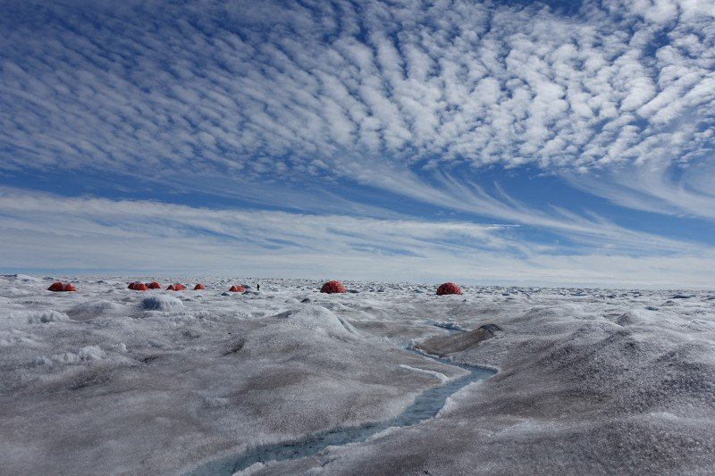 Joseph Cook's research camp on the Greenland Ice Sheet is seen in the summer of 2016. (Photo Courtesy Joseph Cook0