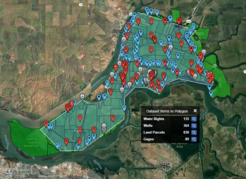 A screen grab from the Water Sage system, showing surface water rights and groundwater wells on Sherman Island in California's Sacramento-San Joaquin Delta. (Image Courtesy Water Sage)