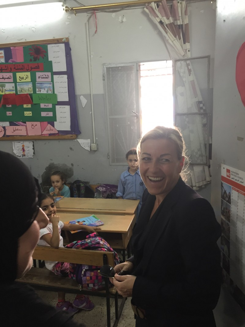 Ambassador Lind at a school run by the United Nations relief agency UNRWA in Beirut. (Courtesy of Royal Norwegian Embassy)