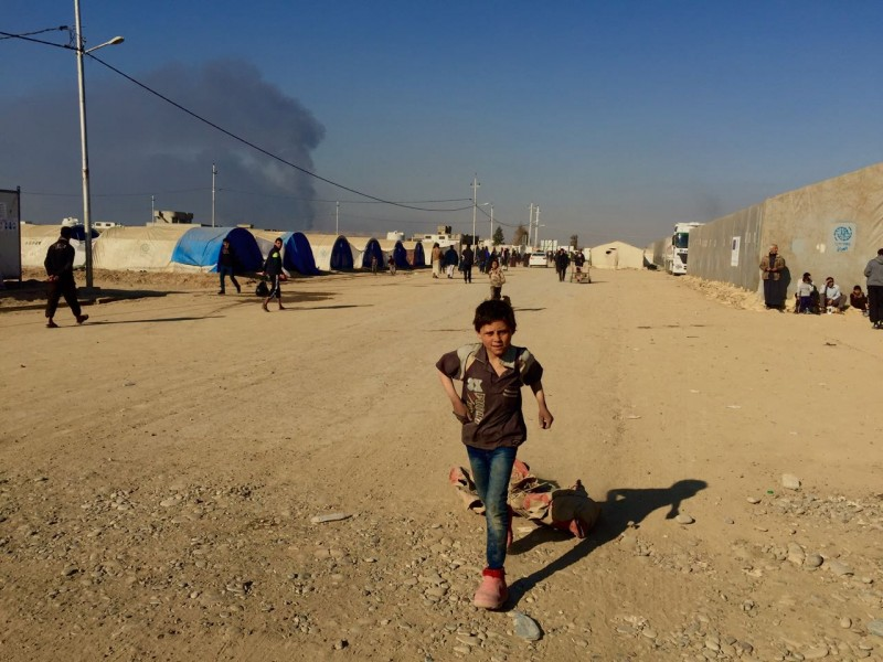 Children in Qayyarah displacement camp in March 2017. (Anna Lekas Miller)