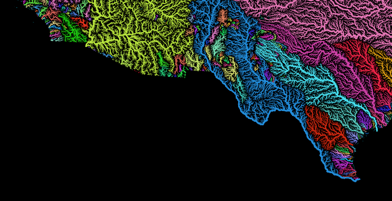 This is a color-enhanced image of U.S. rivers along the border with Mexico, from San Diego, Calif., on the left to Brownsville, Texas, on the right. The Colorado River watershed is shown in yellow, with the Rio Grande in dark blue. A border wall proposed by President Trump would have to cross or bisect all of these. (Image Courtesy Robert Szucs, Grasshopper Geography)
