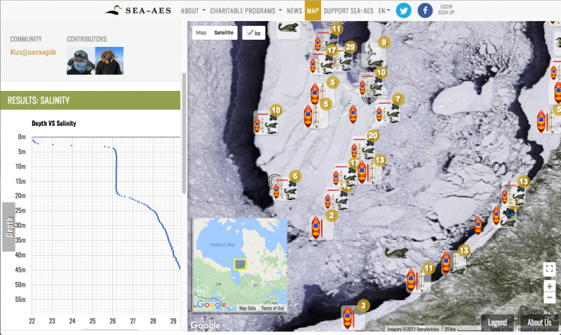 A screen capture from the Arctic Eider Society's Interactive Knowledge Mapping Platform shows results from a community-driven research project to monitor water and ice along the Hudson Bay coast. SIKU will expand on this platform, adding many new tools and functions. (Photo Courtesy of the Arctic Eider Society)
