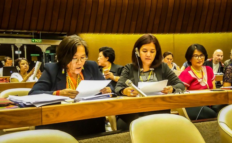 Judith Pasimio (middle) with Kakay Tolentino (left), an indigenous woman from the Dumagat community, as she delivers a statement during the Convention on the Elimination of All Forms of Discrimination against Women (CEDAW), which runs in Geneva from July 4 to July 22. (WLB)