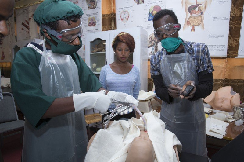 At Wollega University in Ethiopia, student midwives use the app during training. (Mulugeta Wolde)